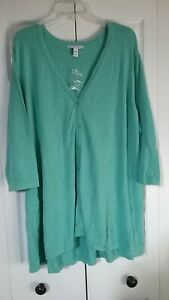 ISAACMIZRAHILIVE! US WOMENS SIZE 3X PLUS SWEATER 3/4 SLEEVES BLUE-GREEN NWT