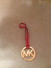 "New Michael Kors Signature Hang tag Fob Charm ORANGE GOLD 2"" wide 5"" long"