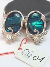 OG01 Vintage Designer Ovale Silber 925 Ohrringe Ohrclips mit tiefblauen Abalone