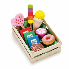 Wooden pretend food Erzi play kitchen shop: Crate of Candies & Ice Creams, large