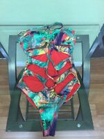 Red Carter Women's One Piece Swimsuit Size S, Multicolor