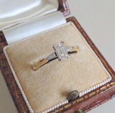 18ct Oro Anillo De Compromiso Solitario Diamante Corte Esmeralda