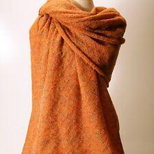 XL Lace Stola Strick Schal Cape bunt orange Lurex 220 x 100 cm Tuch Poncho Plaid