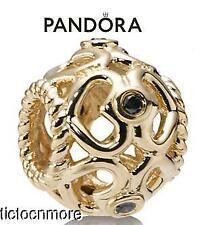 RETIRED PANDORA 14K GOLD BRACELET CHARM OPEN HEART BLACK DIAMOND 750466DB NEW