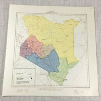 1961 Vintage Mappa di Kenya Africa Governo Administrative Regione Rift Valley