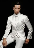 White Men's Wedding Suits Groom Tuxedos Formal Business Prom Dinner 3 Piece Suit