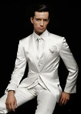 White Men's Wedding Suits Groom Tuxedos Formal Business/Party/Dinner 3 PC Suits