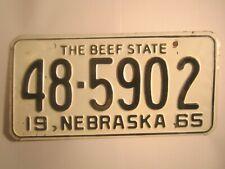 LLICENSE PLATE Car Tag 1965 NEBRASKA 48 5902 [Z281A]