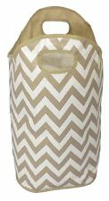 Chevron Laundry Bag Beige 60cm x 46cm Wipe Clean Heavy Duty Washing Basket Bag