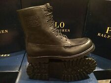 NIB POLO RALPH LAUREN PEBBLED BLACK LEATHER LACES FLAXBY ANKLE HIKING BOOTS
