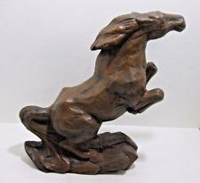Vintage Rearing Horse Cast Iron Brown Bronco Mustang  Statue