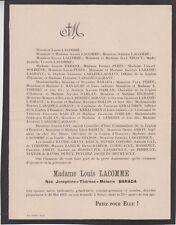 *1913 Faire-part décès Mme Louis LACOMME née BARADA - Nérac (Lot-et-Garonne)