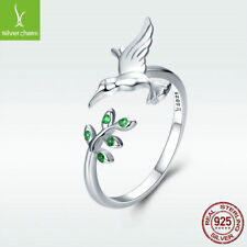 925 Sterling Silver Open Ring Hummingbird's Greet With Olive Branch Adjustable