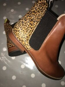 JOULES Chelsea Westbourne Tan / Ocelot Leather Boots Sz 4 5 8 RP£140 FreeUKP&P