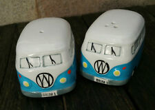 Camper Van Salt and Pepper Pots, Handpainted Stoneware, Light Blue Hippy Vans