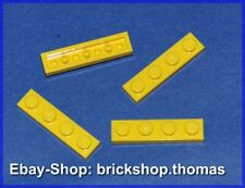 Lego 4 x Platte (1 x 4) - 3710 gelb - Yellow Plate Plates - NEU / NEW