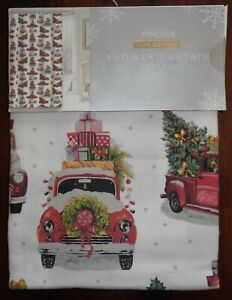 NEW Envogue Holiday Red Truck Christmas Tree Shower Curtain 100% Cotton 72 x 72