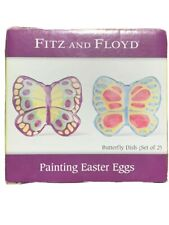 Rare Nib Fitz & Floyd Painting Easter Eggs Butterfly Dish (Set Of 2) Brand New