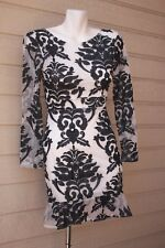 Embroidered Black White mesh dress low back Small S 3/4 sleeves Forever 21 H&M