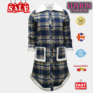 High-Quality Women's Winter Plaid Mid-Length Jacket Sherpa Lining-NAVY YELLOW