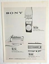 1959 Sony TR 610 TR-714 Transistor Radio vintage print Ad RARE International ad