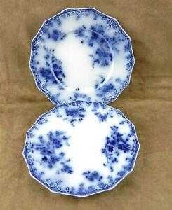 """2 Grindley Flow Blue 'Janette' 8"""" Dessert Cake Plates England ~EC~ T35"""