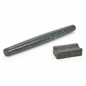 Homiu Rolling Pin With Stand, Hard-Wearing Solid Black Granite, Cooking & Baking