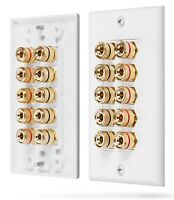 Fosmon 5 Speaker 10 Binding Home Theater Gold Copper Banana Post Wall Plate Jack