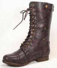 Wholesale Brown Faux Leather Fold Down Mid Calf Lace Up Military Combat  Boots