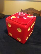 Vintage ceramic Large Red Dice cookie jar MCM EUC see pictures RARE signed