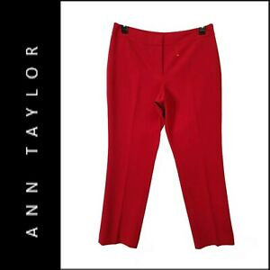 Ann Taylor Womens Casual Formal Ankle Length Curvy Pants Size 12P Red