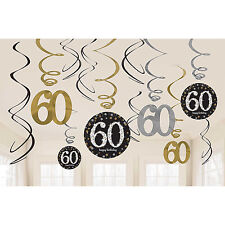 Gold Celebration 60th Hanging Swirls, Black, Silver & Gold, by AMSCAN