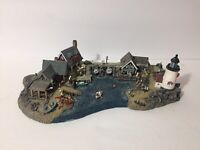 "Danbury Mint 11"" Fishermans Cove By Colin Gough Harbor Lighthouse Boathouse"