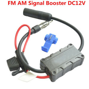 Car SUV Stereo Antenna FM AM Radio Signal Amplifier Booster AMP Strengthen 12VDC