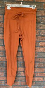 Glyder Leggings Medium High Waist Workout Pants Bottoms Burnt Rust Orange Drawst