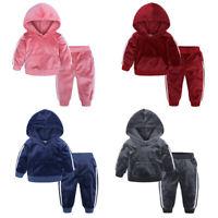 Toddler Kids Baby Girl Boy Fleece Warm Hooded Sweatshirt Long Pants Outfits Sets