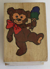 TEDDY BEAR Eating ICE CREAM Cone Rubber Stamp Wood Mounted #2 Dessert