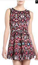 NWT Womens Romeo & Juliet Couture Print Scuba Fit & Flare Dress Sz L Large
