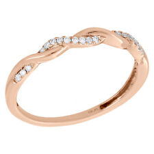 10K Rose Gold Ladies Diamond Braided Stackable Twisted Right Hand Ring 1/12 Ct.