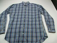 Peter Millar Mens Button Front Shirt Blue Brown Plaid Long Sleeve Cotton Large
