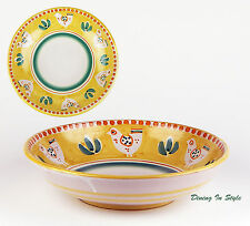 """12"""" Large Serving Bowl, NEAR MINT! Campagna Chicken, Vietri, Italy, Yellow"""
