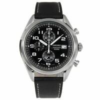 Seiko SSB271P1 Chronograph Leather Band Analog Mens Watch 100M WR SSB271