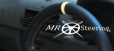 FITS 1998+ PEUGEOT 206 HDi SW CC REAL LEATHER STEERING WHEEL COVER + CREAM STRAP