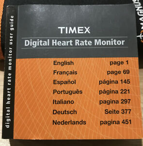 Timex Digital Heart Rate Monitor Instruction Booklet