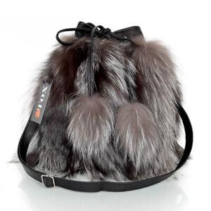 Genuine Silver Fox Fur Bucket Bag! Grey Fur Shoulder Bag Real Fur Sack Bag FOX