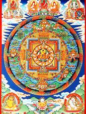 "32""Brocade Wood Scroll Tibet Buddist Thangka Mandala - Sakyamuni & Sixteen Arhan"