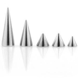 Body Jewelry Replacement Parts - 10pk 316L Surgical Steel Threaded Cones Spikes