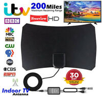 Indoor TV Antenna Digital HDTV +Aerial Amplified  Mile Range VHF UHF Freeview UK