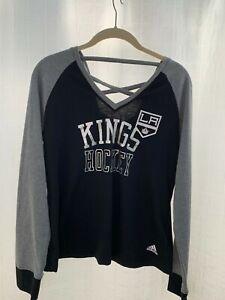 LA Kings Hockey Womens Medium Black Long Sleeve V Neck T Shirt WT37