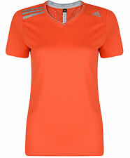 New Adidas ClimaChill Running Top T-Shirt - Orange - Ladies Womens Gym Fitness